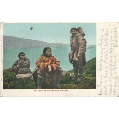 Eskimos of Alaska and Siberia - Postcard