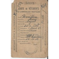 Carte de Vêtements et d'articles textiles  Paris 5eme 1942